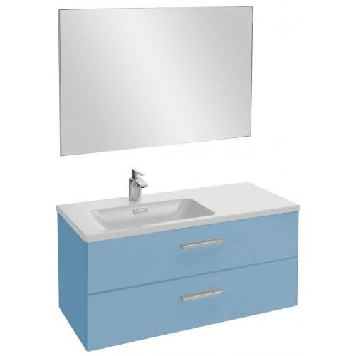 Мебель для ванной Jacob Delafon Vox 100 подвесная левая с 2-мя ящиками с прямой ручкой матовый аквамарин