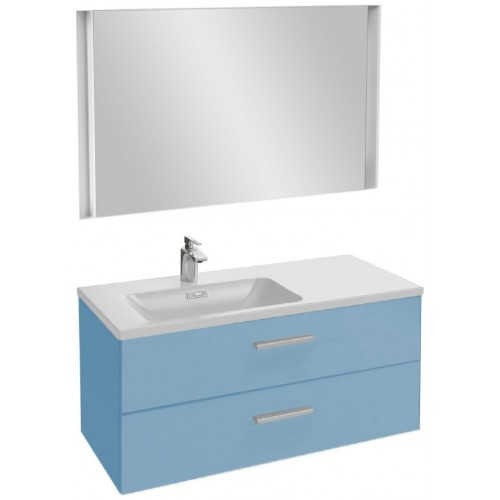 Мебель для ванной Jacob Delafon Vox 100 подвесная левая с 2-мя ящиками с прямой ручкой матовый аквамарин с зеркалом с подсветкой