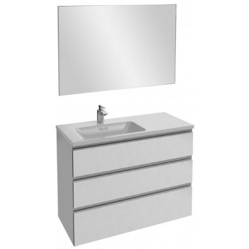 Мебель для ванной Jacob Delafon Vox 100 подвесная левая с 3-мя ящиками белая блестящая