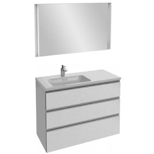 Мебель для ванной Jacob Delafon Vox 100 подвесная левая с 3-мя ящиками белая блестящая с зеркалом с подсветкой