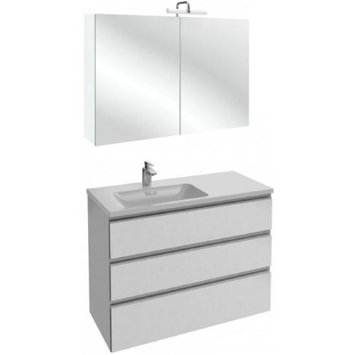 Мебель для ванной Jacob Delafon Vox 100 подвесная левая с 3-мя ящиками белая блестящая с зеркалом-шкафом