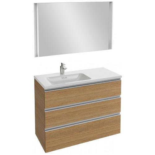 Мебель для ванной Jacob Delafon Vox 100 подвесная левая с 3-мя ящиками ореховое дерево с зеркалом с подсветкой