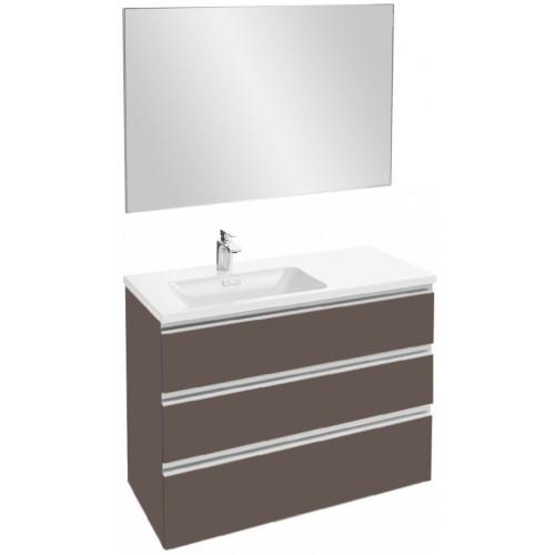 Мебель для ванной Jacob Delafon Vox 100 подвесная левая с 3-мя ящиками светло-коричневая глянцевая