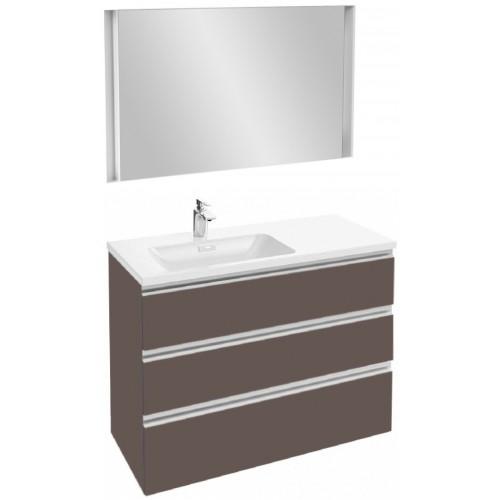 Мебель для ванной Jacob Delafon Vox 100 подвесная левая с 3-мя ящиками светло-коричневая глянцевая с зеркалом с подсветкой