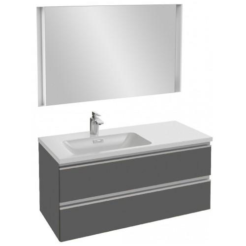 Мебель для ванной Jacob Delafon Vox 100 подвесная левая серый антрацит глянцевый с зеркалом с подсветкой