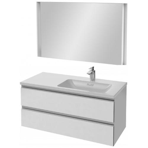 Мебель для ванной Jacob Delafon Vox 100 подвесная правая белая блестящая с зеркалом с подсветкой