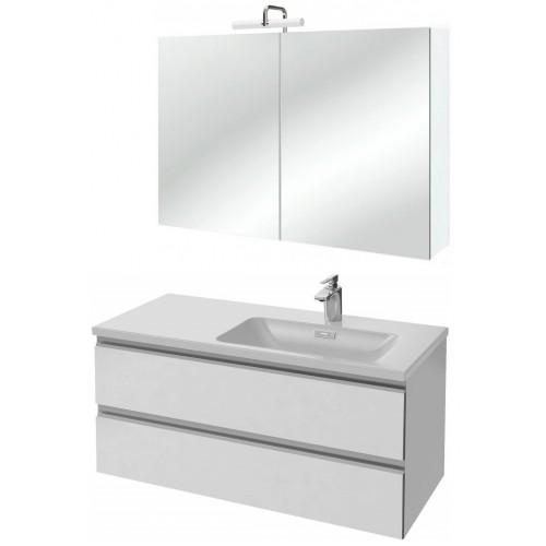 Мебель для ванной Jacob Delafon Vox 100 подвесная правая белая блестящая с зеркалом-шкафом