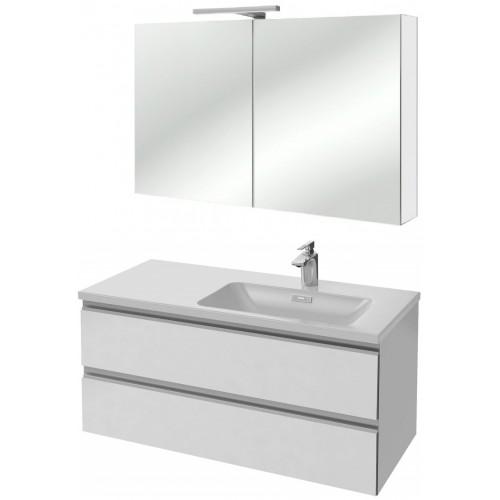 Мебель для ванной Jacob Delafon Vox 100 подвесная правая белый блестящий лак с зеркалом-шкафом