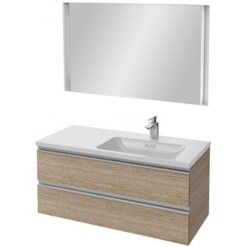 Мебель для ванной Jacob Delafon Vox 100 подвесная правая квебекский дуб с зеркалом с подсветкой