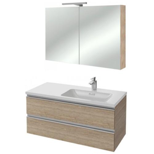 Мебель для ванной Jacob Delafon Vox 100 подвесная правая квебекский дуб с зеркалом-шкафом