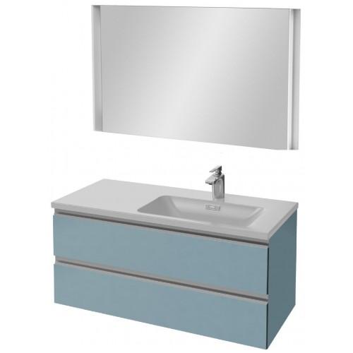 Мебель для ванной Jacob Delafon Vox 100 подвесная правая матовый аквамарин с зеркалом с подсветкой