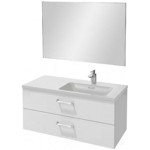 Мебель для ванной Jacob Delafon Vox 100 подвесная правая с 2-мя ящиками с изогнутой ручкой белый блестящий лак