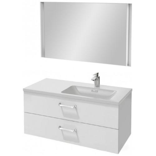 Мебель для ванной Jacob Delafon Vox 100 подвесная правая с 2-мя ящиками с изогнутой ручкой белый блестящий лак с зеркалом с подсветкой