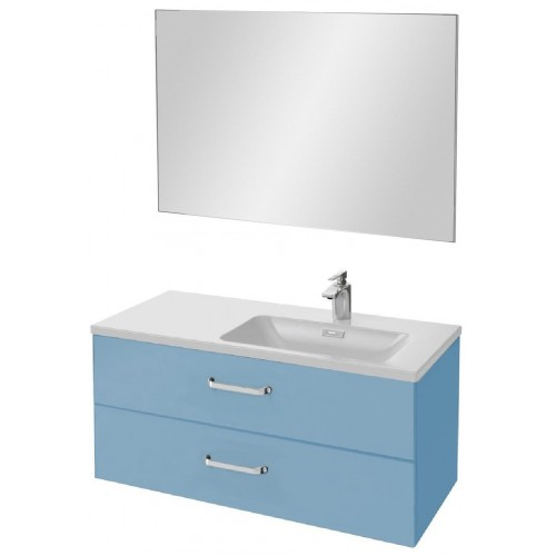 Мебель для ванной Jacob Delafon Vox 100 подвесная правая с 2-мя ящиками с изогнутой ручкой матовый аквамарин