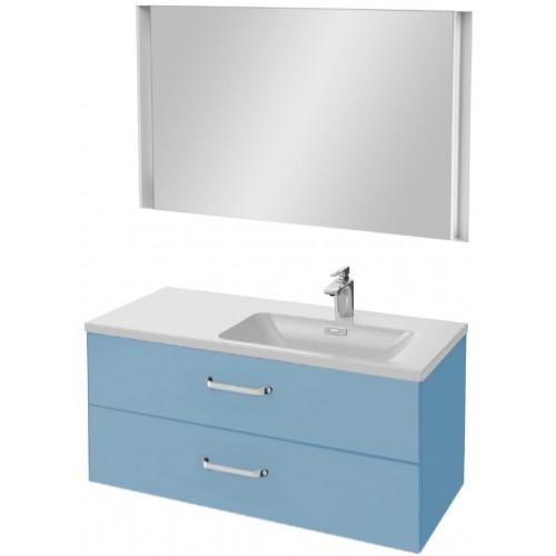 Мебель для ванной Jacob Delafon Vox 100 подвесная правая с 2-мя ящиками с изогнутой ручкой матовый аквамарин с зеркалом с подсветкой