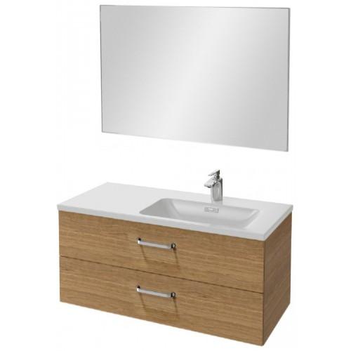 Мебель для ванной Jacob Delafon Vox 100 подвесная правая с 2-мя ящиками с изогнутой ручкой ореховое дерево