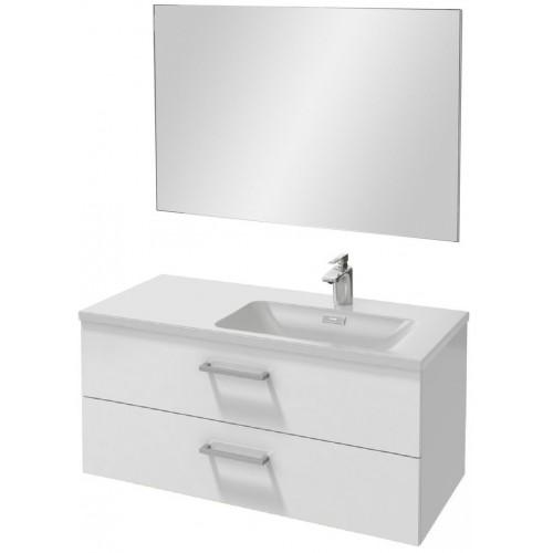 Мебель для ванной Jacob Delafon Vox 100 подвесная правая с 2-мя ящиками с прямоугольной ручкой белая блестящая