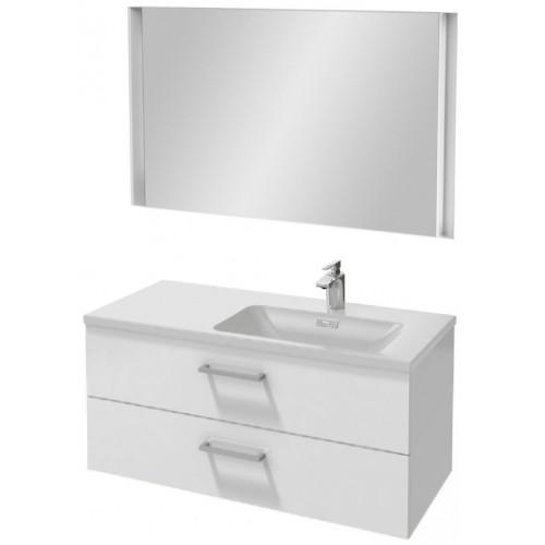 Мебель для ванной Jacob Delafon Vox 100 подвесная правая с 2-мя ящиками с прямоугольной ручкой белая блестящая с зеркалом с подсветкой