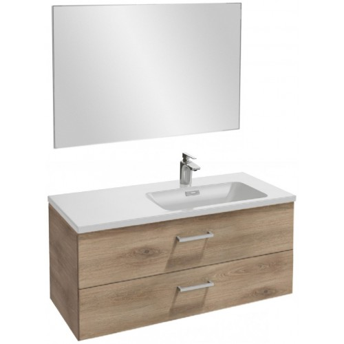 Мебель для ванной Jacob Delafon Vox 100 подвесная правая с 2-мя ящиками с прямоугольной ручкой квебекский дуб