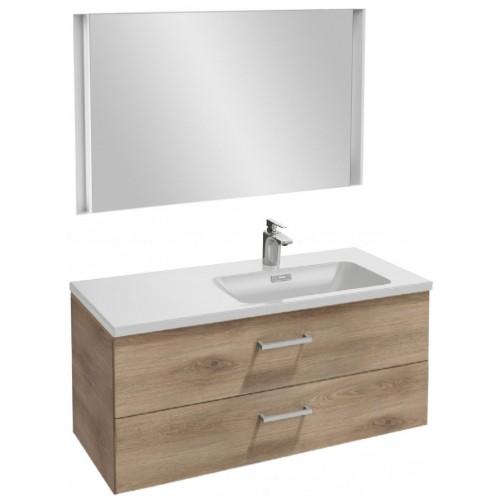 Мебель для ванной Jacob Delafon Vox 100 подвесная правая с 2-мя ящиками с прямоугольной ручкой квебекский дуб с зеркалом с подсветкой