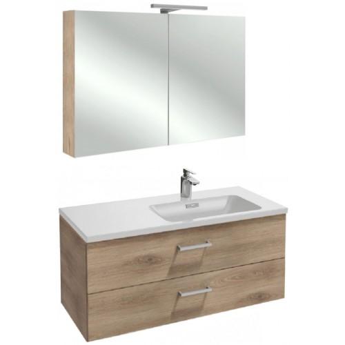 Мебель для ванной Jacob Delafon Vox 100 подвесная правая с 2-мя ящиками с прямоугольной ручкой квебекский дуб с зеркалом-шкафом