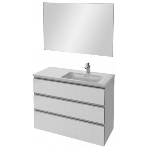 Мебель для ванной Jacob Delafon Vox 100 подвесная правая с 3-мя ящиками белая блестящая