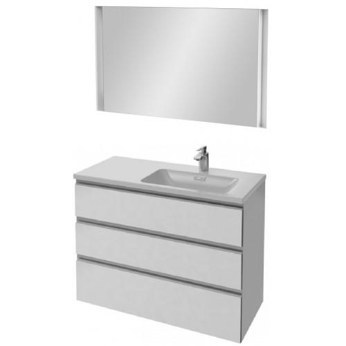 Мебель для ванной Jacob Delafon Vox 100 подвесная правая с 3-мя ящиками белая блестящая с зеркалом с подсветкой