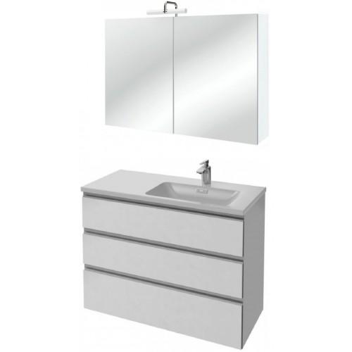 Мебель для ванной Jacob Delafon Vox 100 подвесная правая с 3-мя ящиками белая блестящая с зеркалом-шкафом