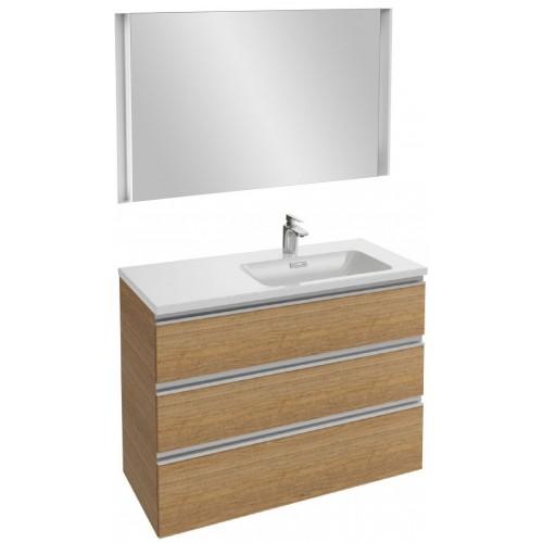 Мебель для ванной Jacob Delafon Vox 100 подвесная правая с 3-мя ящиками ореховое дерево с зеркалом с подсветкой