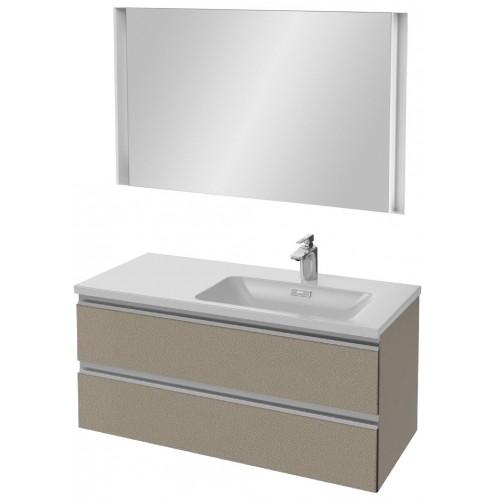 Мебель для ванной Jacob Delafon Vox 100 подвесная правая серая кожа с зеркалом с подсветкой