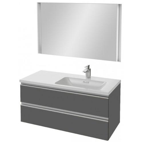Мебель для ванной Jacob Delafon Vox 100 подвесная правая серый антрацит глянцевый с зеркалом с подсветкой