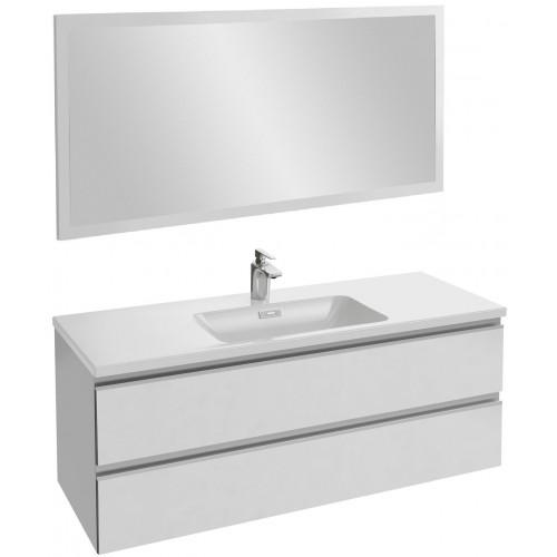 Мебель для ванной Jacob Delafon Vox 120 подвесная белая блестящая с зеркалом со светодиодной подсветкой