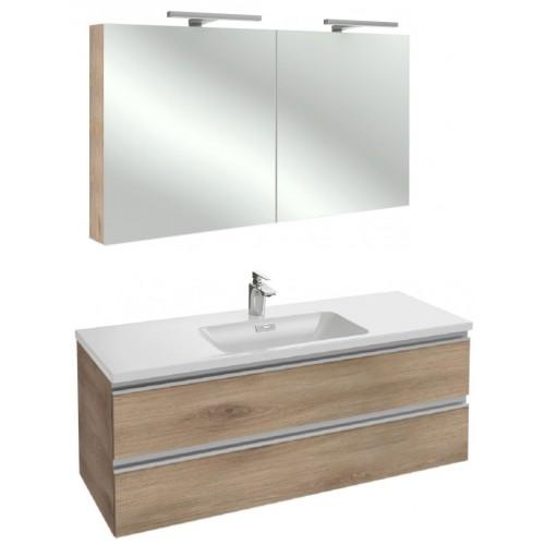 Мебель для ванной Jacob Delafon Vox 120 подвесная квебекский дуб с зеркалом-шкафом