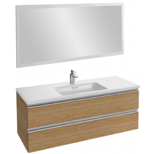 Мебель для ванной Jacob Delafon Vox 120 подвесная ореховое дерево с зеркалом со светодиодной подсветкой