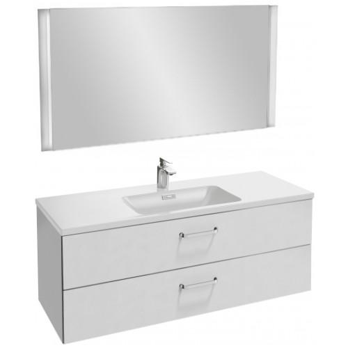 Мебель для ванной Jacob Delafon Vox 120 подвесная с 2-мя ящиками с изогнутой ручкой белая блестящая
