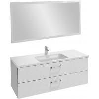 Мебель для ванной Jacob Delafon Vox 120 подвесная с 2-мя ящиками с изогнутой ручкой белая блестящая с зеркалом со светодиодной подсветкой