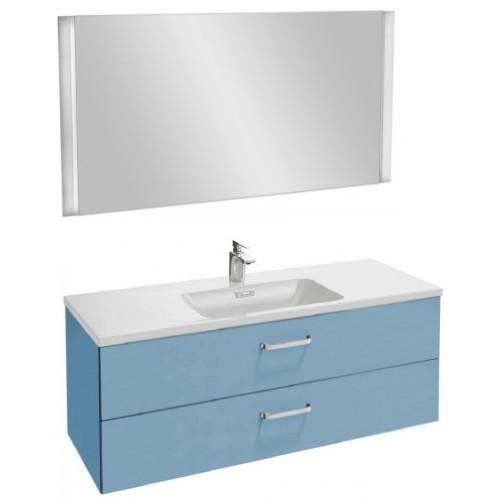 Мебель для ванной Jacob Delafon Vox 120 подвесная с 2-мя ящиками с изогнутой ручкой матовый аквамарин