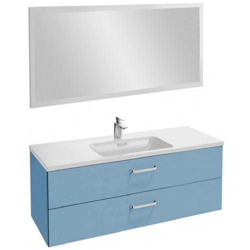 Мебель для ванной Jacob Delafon Vox 120 подвесная с 2-мя ящиками с изогнутой ручкой матовый аквамарин с зеркалом со светодиодной подсветкой
