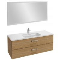 Мебель для ванной Jacob Delafon Vox 120 подвесная с 2-мя ящиками с изогнутой ручкой ореховое дерево с зеркалом со светодиодной подсветкой