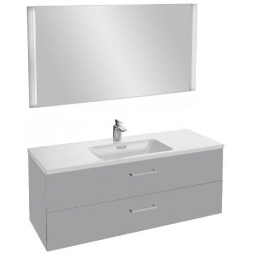 Мебель для ванной Jacob Delafon Vox 120 подвесная с 2-мя ящиками с прямоугольной ручкой пепельная глянцевая