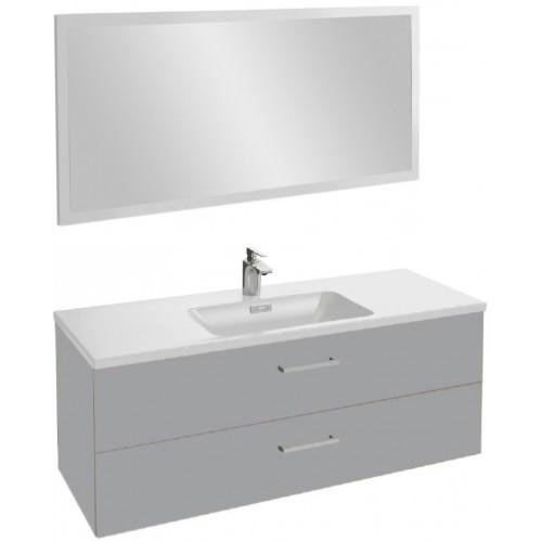 Мебель для ванной Jacob Delafon Vox 120 подвесная с 2-мя ящиками с прямоугольной ручкой пепельная глянцевая с зеркалом со светодиодной подсветкой