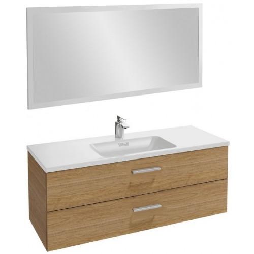 Мебель для ванной Jacob Delafon Vox 120 подвесная с 2-мя ящиками с прямой ручкой ореховое дерево с зеркалом со светодиодной подсветкой