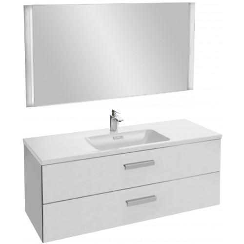 Мебель для ванной Jacob Delafon Vox 120 подвесная с 2-мя ящиками с угловой ручкой белый блестящий лак