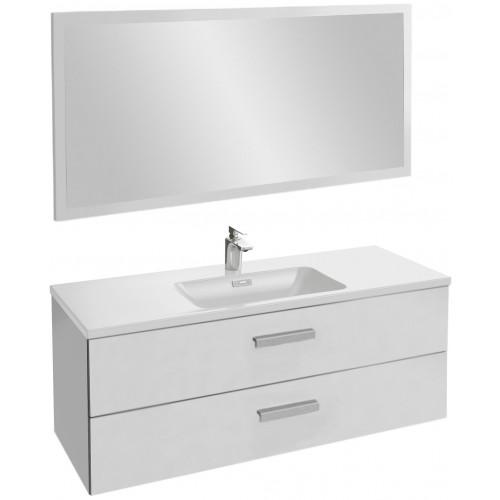 Мебель для ванной Jacob Delafon Vox 120 подвесная с 2-мя ящиками с угловой ручкой белый блестящий лак с зеркалом со светодиодной подсветкой