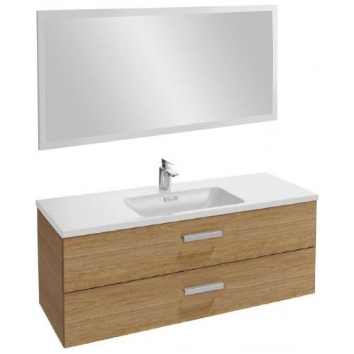 Мебель для ванной Jacob Delafon Vox 120 подвесная с 2-мя ящиками с угловой ручкой ореховое дерево с зеркалом со светодиодной подсветкой