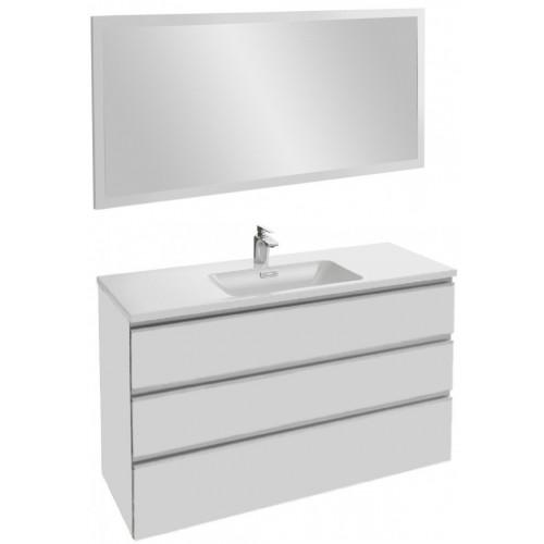 Мебель для ванной Jacob Delafon Vox 120 подвесная с 3-мя ящиками белая блестящая с зеркалом со светодиодной подсветкой