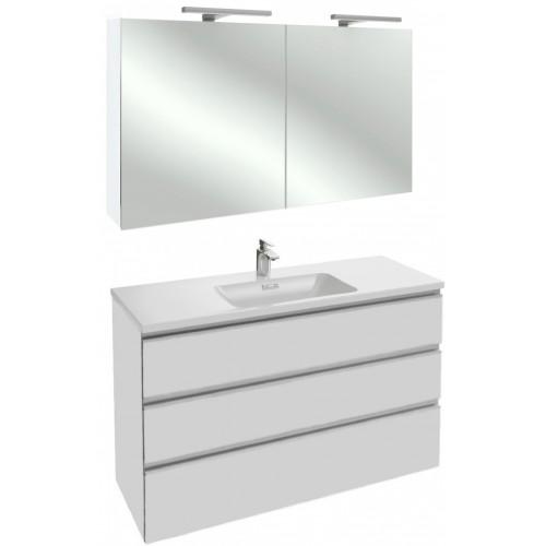 Мебель для ванной Jacob Delafon Vox 120 подвесная с 3-мя ящиками белый блестящий лак с зеркалом-шкафом