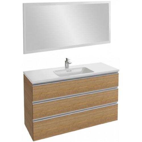 Мебель для ванной Jacob Delafon Vox 120 подвесная с 3-мя ящиками ореховое дерево с зеркалом со светодиодной подсветкой