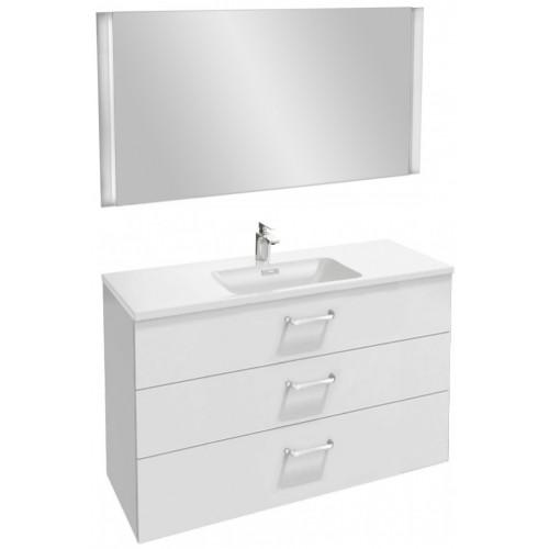 Мебель для ванной Jacob Delafon Vox 120 подвесная с 3-мя ящиками с изогнутой ручкой белая блестящая