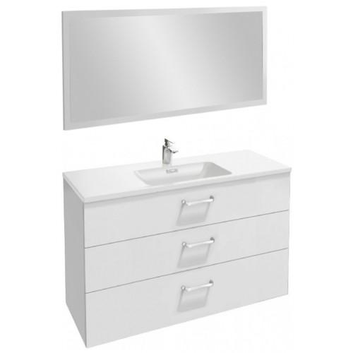 Мебель для ванной Jacob Delafon Vox 120 подвесная с 3-мя ящиками с изогнутой ручкой белая блестящая с зеркалом со светодиодной подсветкой
